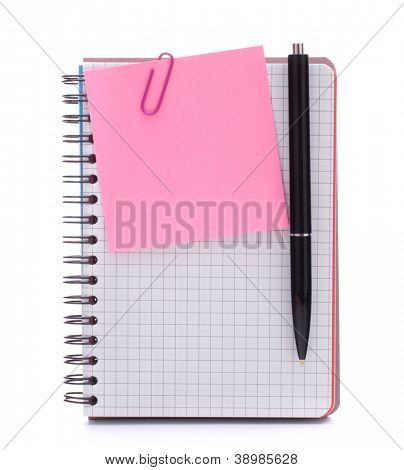 notebook with notice paper and pen isolated on white background cutout