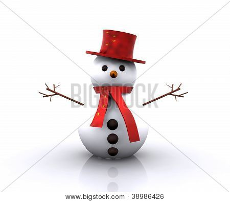 Cheerful Snowman Chinese - 3D