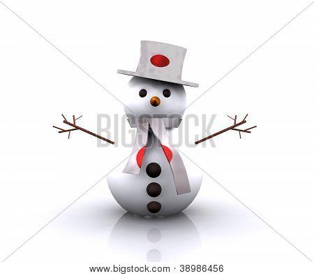 japanische 3d Schneemann