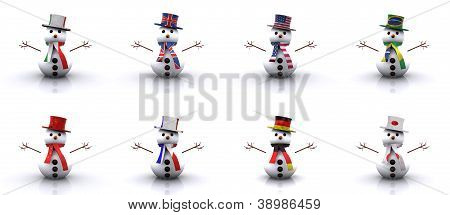 Set - Snowmen of different Countries 3D