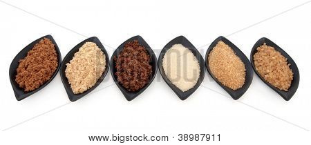 Selection of muscovado, light brown, molasses, granulated, demerara and crystal sugar in leaf shaped black bowls over white background.