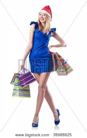Young woman in christmas shopping concept