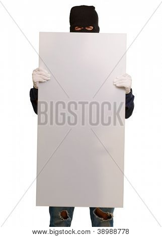 Man wearing mask holding a blank card isolated on white background