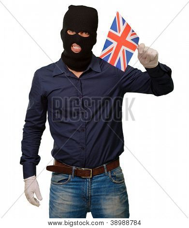 Portrait of a man wearing mask holding a flag isolated on white background