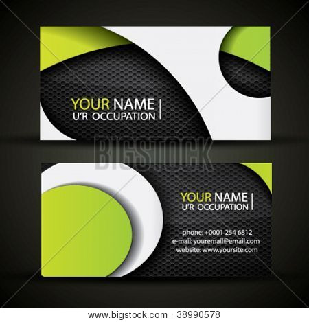 Modern vector business card - green, white and black colors