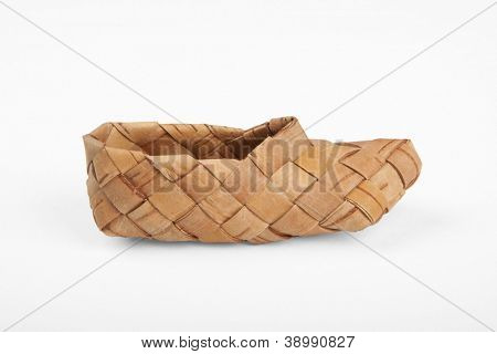 bast, ancient russian shoes, isolated on white