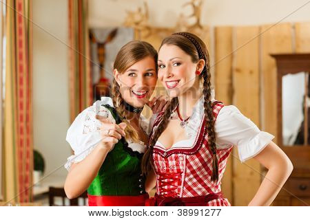 Young people - two women -  in traditional Bavarian Tracht in restaurant or pub
