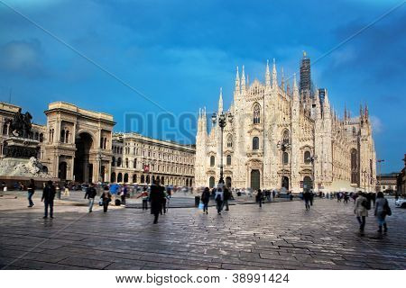 Milan Cathedral, Duomo and Vittorio Emanuele II Gallery at Piazza del Duomo. Lombardy, Italy.