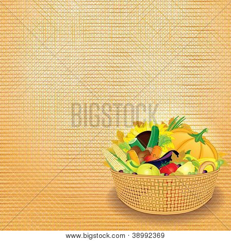 Basket with Rich Autumn Harvest. Thanksgiving Card. Design Template with Place for Text.