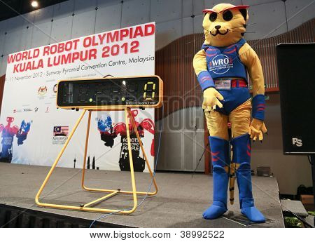 SUBANG JAYA - NOVEMBER 10: The event's mascot checks in on stage at the World Robot Olympaid competition on November 10, 2012 in Subang Jaya, Malaysia. Students from all over the world participate.