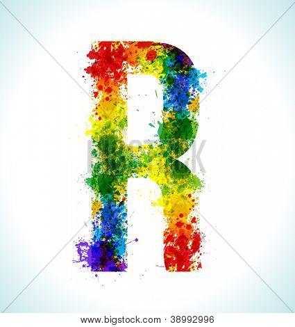Color paint splashes. Gradient vector font. Letter R