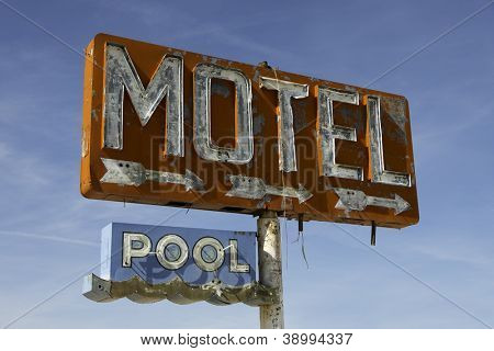 Old, worn out vintage motel sign on route 66 in Arizona