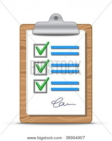 Clipboard and checklist. Wooden clipboard with a sheet of paper