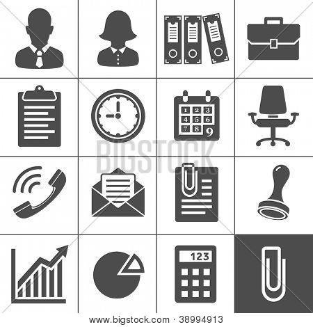 Iconos de oficina. Serie de Simplus. Cada icono es un único objeto (trazado compuesto)