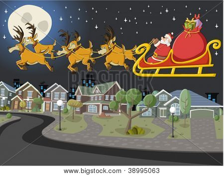 Santa Claus on sleigh with reindeer flying over suburb neighborhood on christmas night