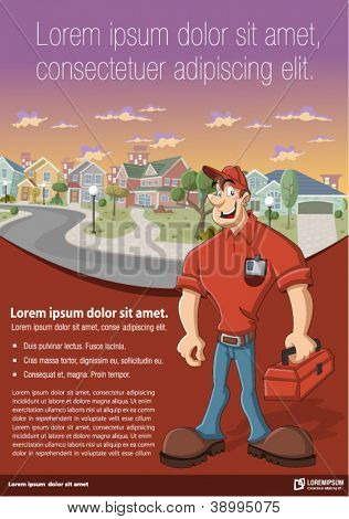 Red template for advertising brochure with worker with red tool box in front of suburb neighborhood