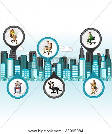 City with people on chair. Vector arrow label.