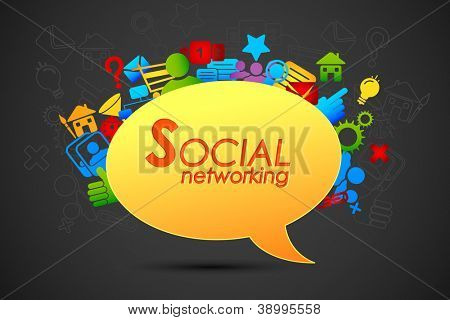 illustration of social networking icon coming out from chat bubble