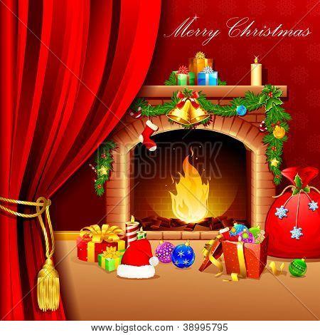 Ilustración de la decoración de la Navidad alrededor de la chimenea detrás de la cortina