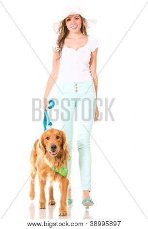Summer woman walking her dog - isolated over a white background
