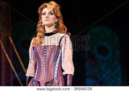 "MOSCOW - FEBRUARY 3: Actress Anastasia Makeeva in musical ""Francois Villon. Three days in Paris"" at Palace on Yauza on February 3, 2012 in Moscow, Russia."