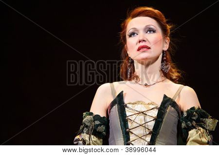 MOSCOW - FEBRUARY 3: Actress Olga Vorozhtsova sings in musical