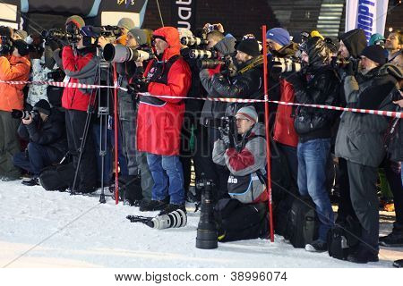 MOSCOW - MARCH 3: Photographers at Snowboard World Cup on March 3, 2012 in Moscow, Russia.