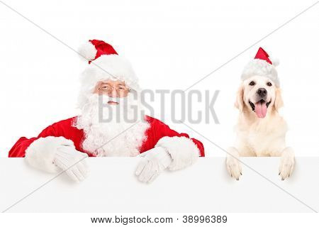 Santa Claus and dog wearing christmas hats and posing behind a billboard isolated on white background