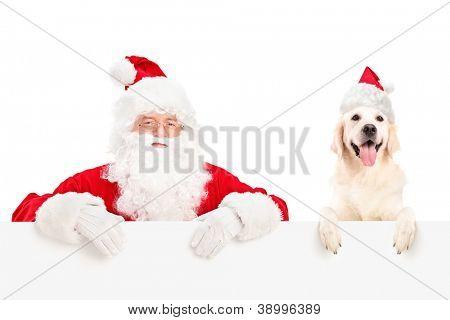 Santa Claus und Hund tragen Weihnachtsmützen und posieren hinter einem Plakat, isolated on white backgroun