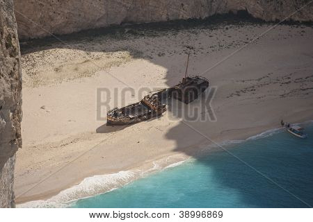 The famous Navagio shipwreck beach of Zakynthos Greece