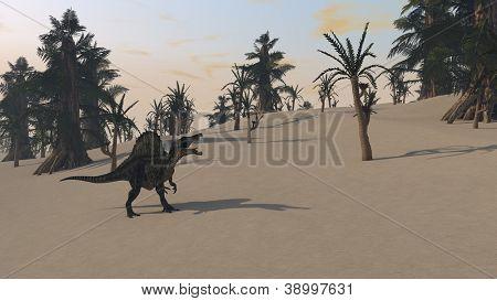 spinosaurus dinosaurus in jungle
