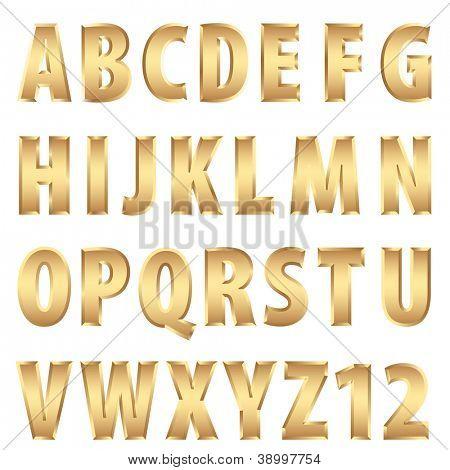 vector golden alphabet
