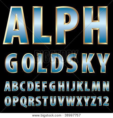 vector 3d golden alphabet with blue sky reflection