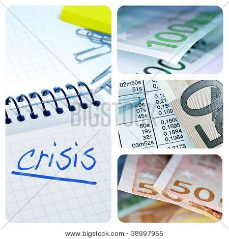 collage of four pictures of different items of european economy, as euro bills and the word crisis written in a notebook
