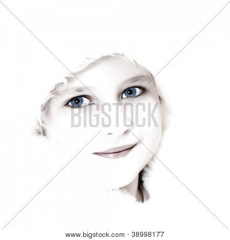 High key portrait of a beautiful little girl in winter fur hat