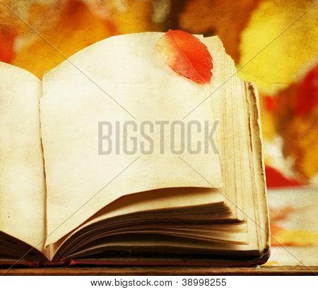 Old book and colorful autumn background