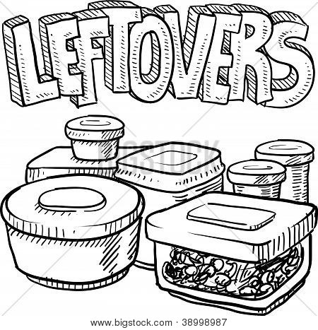 Holiday leftovers food sketch