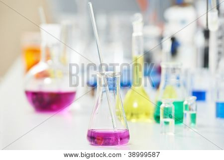 Pharmacy Laboratory and chemistry theme. Test glass flask with liquid solution in research