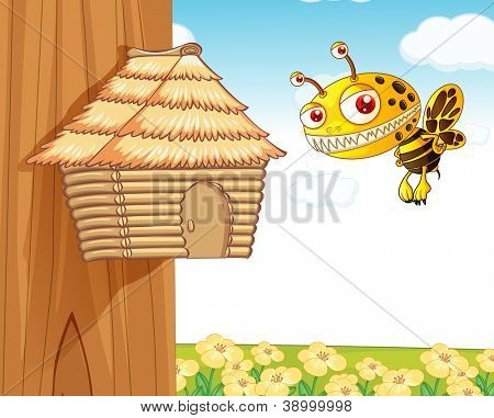 illustration of a honey bee and a wooden house in nature