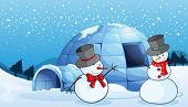 stock photo of igloo  - illustration of an igloo and snowmen in nature - JPG