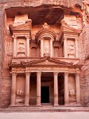 The ancient Treasury, el-Khazneh, Petra, Jordan. The city of Petra was lost for over 1000 years and
