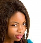 stock photo of cynicism  - African American Woman has a skeptical attitude - JPG