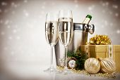foto of ice crystal  - Celebration theme with champagne wine - JPG
