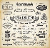 stock photo of mistletoe  - Christmas decoration collection Set of calligraphic and typographic elements - JPG