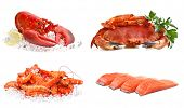 stock photo of lobster tail  - Set of sea food on a white background - JPG
