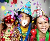 picture of happy halloween  - Three funny carnival kids portrait enjoying together - JPG