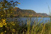 stock photo of winona  - Fall color trees and a lake in Minnesota - JPG