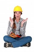 A clueless female construction worker.