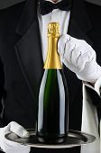 Closeup of a sommelier holding a champagne bottle on a serving tray in front of his torso. Wan is we