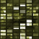 foto of voyeur  - Voyeuring Office Building After Dark In Yellow Tones - JPG